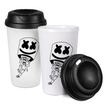 Fortnite Marshmello, Κούπα ταξιδιού πλαστικό (BPA-FREE) με καπάκι βιδωτό, διπλού τοιχώματος (θερμό) 330ml (1 τεμάχιο)