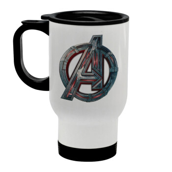 Avengers, Κούπα ταξιδιού ανοξείδωτη με καπάκι, διπλού τοιχώματος (θερμό) λευκή 450ml