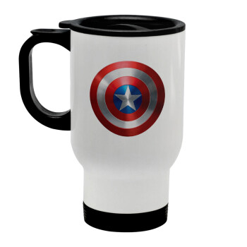 Captain America, Κούπα ταξιδιού ανοξείδωτη με καπάκι, διπλού τοιχώματος (θερμό) λευκή 450ml