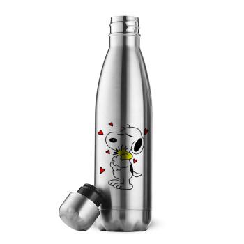 Snoopy Love, Μεταλλικό παγούρι θερμός Inox (Stainless steel), διπλού τοιχώματος, 500ml