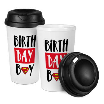 Birth day Boy (superman), Κούπα ταξιδιού πλαστικό (BPA-FREE) με καπάκι βιδωτό, διπλού τοιχώματος (θερμό) 330ml (1 τεμάχιο)