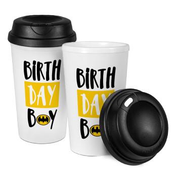 Birth day Boy (batman), Κούπα ταξιδιού πλαστικό (BPA-FREE) με καπάκι βιδωτό, διπλού τοιχώματος (θερμό) 330ml (1 τεμάχιο)