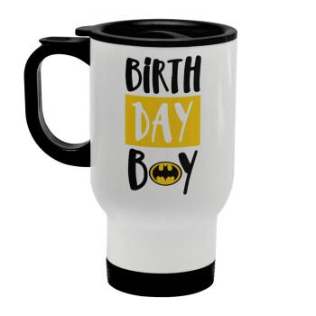 Birth day Boy (batman), Κούπα ταξιδιού ανοξείδωτη με καπάκι, διπλού τοιχώματος (θερμό) λευκή 450ml