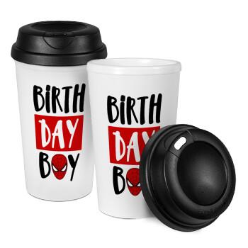 Birth day Boy (spiderman), Κούπα ταξιδιού πλαστικό (BPA-FREE) με καπάκι βιδωτό, διπλού τοιχώματος (θερμό) 330ml (1 τεμάχιο)