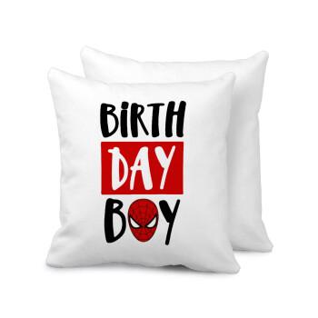 Birth day Boy (spiderman), Μαξιλάρι καναπέ 40x40cm περιέχεται το γέμισμα