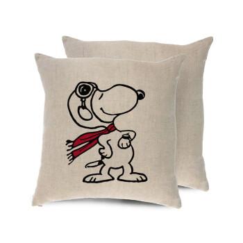 Snoopy ο πιλότος, Μαξιλάρι καναπέ ΛΙΝΟ 40x40cm περιέχεται το γέμισμα