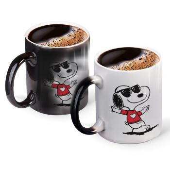 Snoopy καρδούλα, Κούπα Μαγική, κεραμική, 330ml που αλλάζει χρώμα με το ζεστό ρόφημα (1 τεμάχιο)