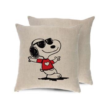 Snoopy καρδούλα, Μαξιλάρι καναπέ ΛΙΝΟ 40x40cm περιέχεται το γέμισμα