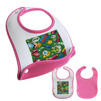Pop art colorful seamless, Σαλιάρα μωρού Ροζ κοριτσάκι, 100% Neoprene (18x19cm)