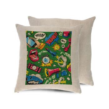 Pop art colorful seamless, Μαξιλάρι καναπέ ΛΙΝΟ 40x40cm περιέχεται το γέμισμα