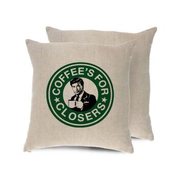 Coffee's for closers, Μαξιλάρι καναπέ ΛΙΝΟ 40x40cm περιέχεται το γέμισμα