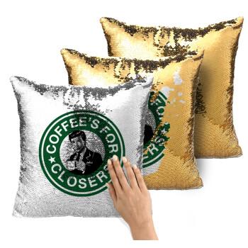 Coffee's for closers, Μαξιλάρι καναπέ Μαγικό Χρυσό με πούλιες 40x40cm περιέχεται το γέμισμα