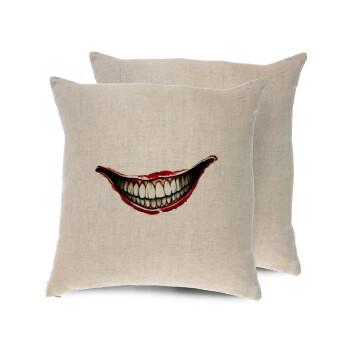 Joker smile, Μαξιλάρι καναπέ ΛΙΝΟ 40x40cm περιέχεται το γέμισμα