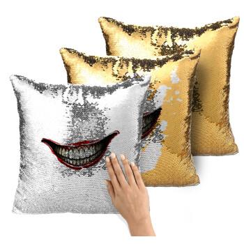 Joker smile, Μαξιλάρι καναπέ Μαγικό Χρυσό με πούλιες 40x40cm περιέχεται το γέμισμα
