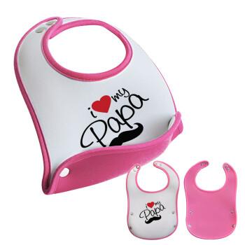 I Love my papa, Σαλιάρα μωρού Ροζ κοριτσάκι, 100% Neoprene (18x19cm)