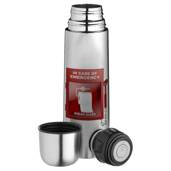 In case of emergency break the glass!, Ισοθερμικό παγουρί & θερμό camping από ανοξείδωτο ατσάλι, διπλού τοιχώματος, 750ml