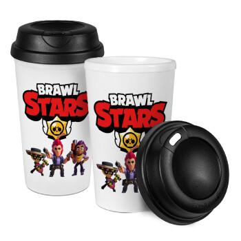 Brawl Stars Desert, Κούπα ταξιδιού πλαστικό (BPA-FREE) με καπάκι βιδωτό, διπλού τοιχώματος (θερμό) 330ml (1 τεμάχιο)