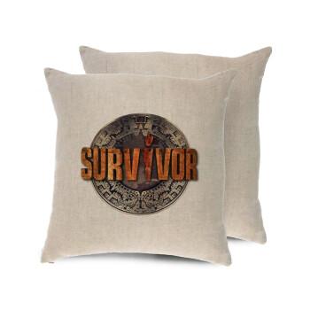 Survivor, Μαξιλάρι καναπέ ΛΙΝΟ 40x40cm περιέχεται το γέμισμα