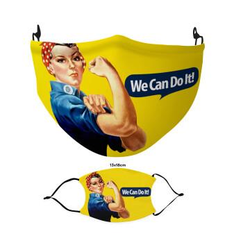 Rosie we can do it!, Μάσκα υφασμάτινη Ενηλίκων πολλαπλών στρώσεων με υποδοχή φίλτρου