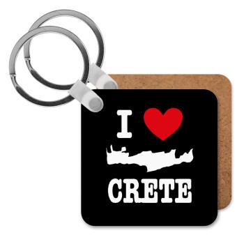 I Love Crete, Μπρελόκ Ξύλινο τετράγωνο MDF 5cm (3mm πάχος)