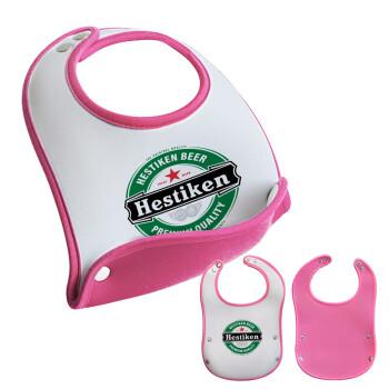 Hestiken Beer, Σαλιάρα μωρού Ροζ κοριτσάκι, 100% Neoprene (18x19cm)