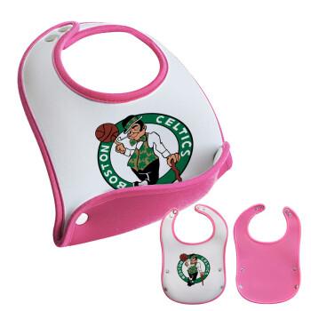 Boston Celtics, Σαλιάρα μωρού Ροζ κοριτσάκι, 100% Neoprene (18x19cm)