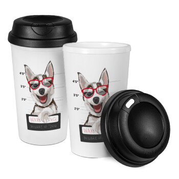 Warning, beware of Dog, Κούπα ταξιδιού πλαστικό (BPA-FREE) με καπάκι βιδωτό, διπλού τοιχώματος (θερμό) 330ml (1 τεμάχιο)