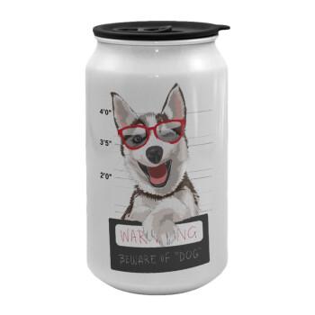 Warning, beware of Dog, Κούπα ταξιδιού μεταλλική με καπάκι (tin-can) 500ml