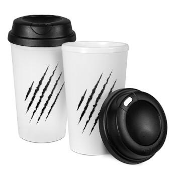 Claw scratch, Κούπα ταξιδιού πλαστικό (BPA-FREE) με καπάκι βιδωτό, διπλού τοιχώματος (θερμό) 330ml (1 τεμάχιο)