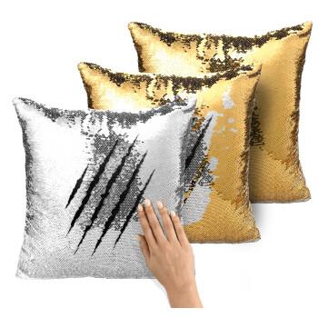 Claw scratch, Μαξιλάρι καναπέ Μαγικό Χρυσό με πούλιες 40x40cm περιέχεται το γέμισμα