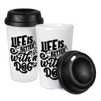 Life is better with a DOG, Κούπα ταξιδιού πλαστικό (BPA-FREE) με καπάκι βιδωτό, διπλού τοιχώματος (θερμό) 330ml (1 τεμάχιο)