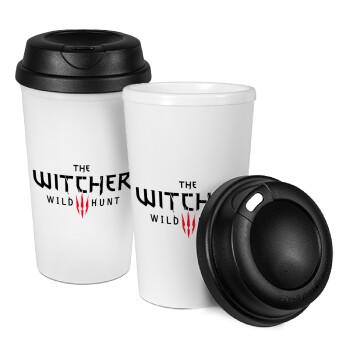 The witcher III wild hunt, Κούπα ταξιδιού πλαστικό (BPA-FREE) με καπάκι βιδωτό, διπλού τοιχώματος (θερμό) 330ml (1 τεμάχιο)