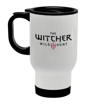 The witcher III wild hunt, Κούπα ταξιδιού ανοξείδωτη με καπάκι, διπλού τοιχώματος (θερμό) λευκή 450ml