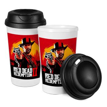 Red Dead Redemption 2, Κούπα ταξιδιού πλαστικό (BPA-FREE) με καπάκι βιδωτό, διπλού τοιχώματος (θερμό) 330ml (1 τεμάχιο)