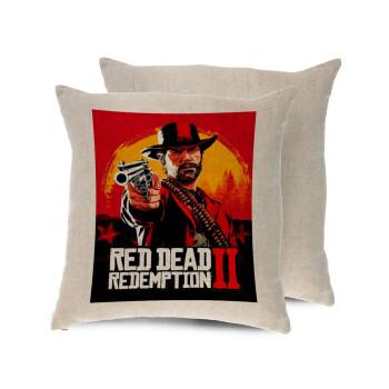 Red Dead Redemption 2, Μαξιλάρι καναπέ ΛΙΝΟ 40x40cm περιέχεται το γέμισμα