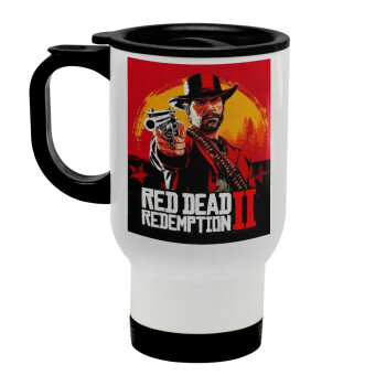 Red Dead Redemption 2, Κούπα ταξιδιού ανοξείδωτη με καπάκι, διπλού τοιχώματος (θερμό) λευκή 450ml