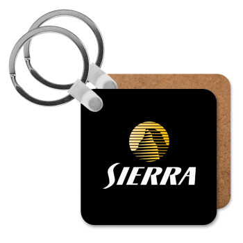 SIERRA, Μπρελόκ Ξύλινο τετράγωνο MDF 5cm (3mm πάχος)