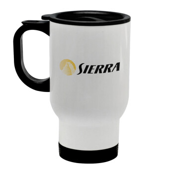 SIERRA, Κούπα ταξιδιού ανοξείδωτη με καπάκι, διπλού τοιχώματος (θερμό) λευκή 450ml