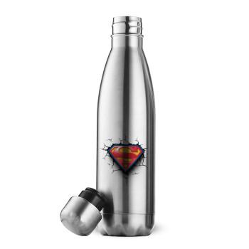Superman cracked, Μεταλλικό παγούρι θερμός Inox (Stainless steel 304), διπλού τοιχώματος, 500ml