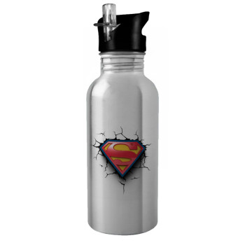 Superman cracked, Stainless steel παγούρι ποδηλάτου ασημένιο με καλαμάκι (Stainless steel) 600ml