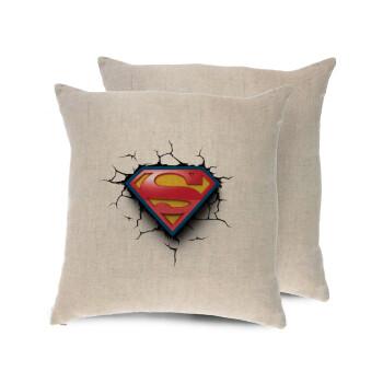 Superman cracked, Μαξιλάρι καναπέ ΛΙΝΟ 40x40cm περιέχεται το γέμισμα
