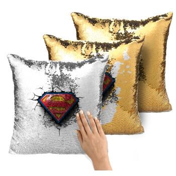 Superman cracked, Μαξιλάρι καναπέ Μαγικό Χρυσό με πούλιες 40x40cm περιέχεται το γέμισμα