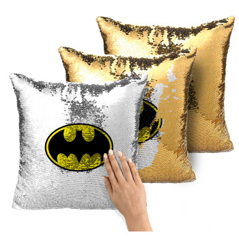 Batman, Μαξιλάρι καναπέ Μαγικό Χρυσό με πούλιες 40x40cm περιέχεται το γέμισμα