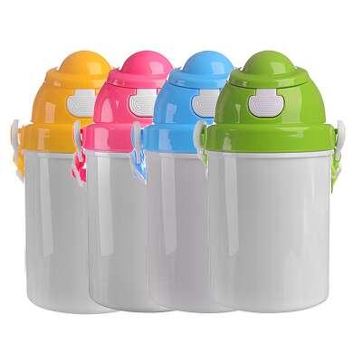 Παδικό παγούρι πλαστικό, με καπάκι ασφαλείας, κορδόνι και καλαμάκι σε διάφορα χρώματα