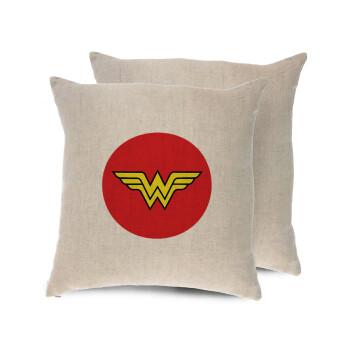 Wonder woman, Μαξιλάρι καναπέ ΛΙΝΟ 40x40cm περιέχεται το γέμισμα