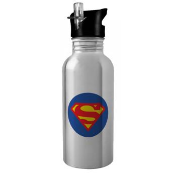 Superman, Stainless steel παγούρι ποδηλάτου ασημένιο με καλαμάκι (Stainless steel) 600ml