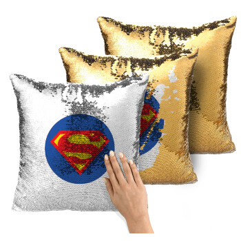 Superman, Μαξιλάρι καναπέ Μαγικό Χρυσό με πούλιες 40x40cm περιέχεται το γέμισμα