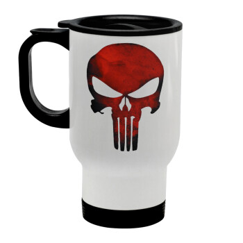 Red skull, Κούπα ταξιδιού ανοξείδωτη με καπάκι, διπλού τοιχώματος (θερμό) λευκή 450ml