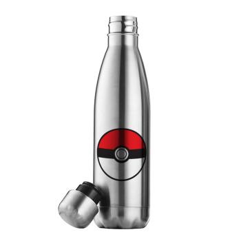 Pokemon ball, Μεταλλικό παγούρι θερμός Inox (Stainless steel 304), διπλού τοιχώματος, 500ml