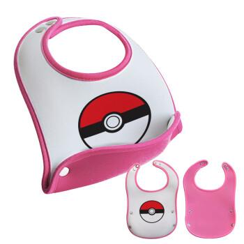 Pokemon ball, Σαλιάρα μωρού Ροζ κοριτσάκι, 100% Neoprene (18x19cm)